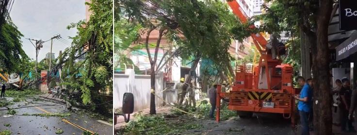 ปิดการจราจรทางเข้าซอยศาลาแดง ฝั่งถนนสีลม และ ถนนสาทรเหนือ อุบัติเหตุรถเครนชนเส่นไฟฟ้า