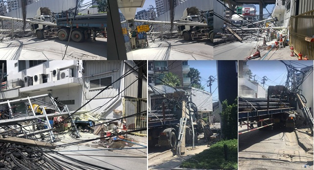อุบัติเหตุ ปากซอยพหลโยธิน 30 รถเทรลเลอร์เกี่ยวสายสื่อสาร เสาไฟล้ม4ต้น ขวางถนน
