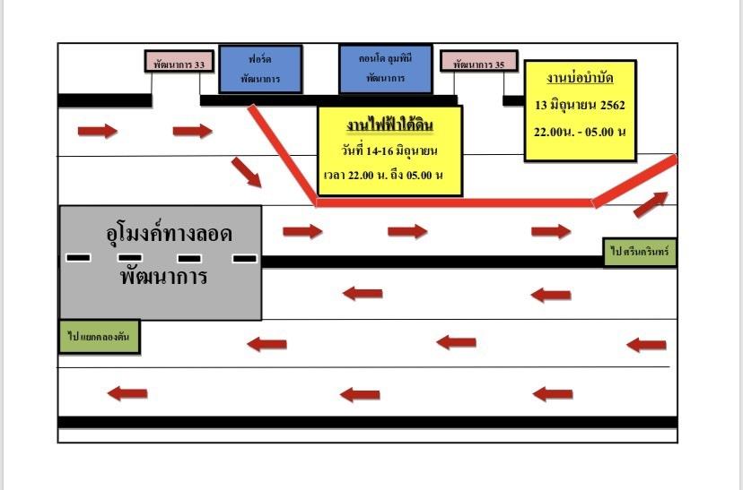 13 - 16 มิ.ย.62 เวลา 22.00 - 05.00น. เลี่ยง! พัฒนาการซอย 33-35 งานบ่อบำบัด งานไฟฟ้าใต้ดิน
