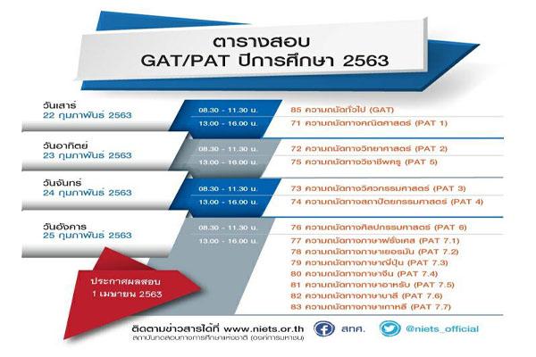 สทศ.จัดทดสอบความถนัดทั่วไป (GAT)  และความถนัดทางวิชาการและวิชาชีพ (PAT)