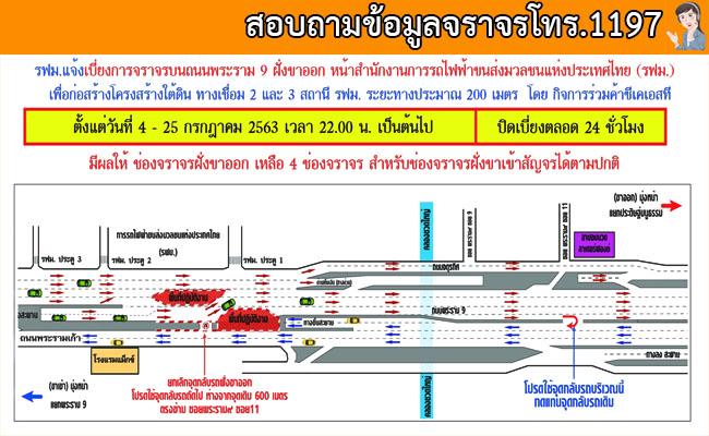 แจ้งปิดเบี่ยงจราจรบนถนนพระราม๙ ฝั่งขาออก หน้าสำนักงานการรถไฟฟ้าขนส่งมวลชนแห่งประเทศไทย (รฟม.)